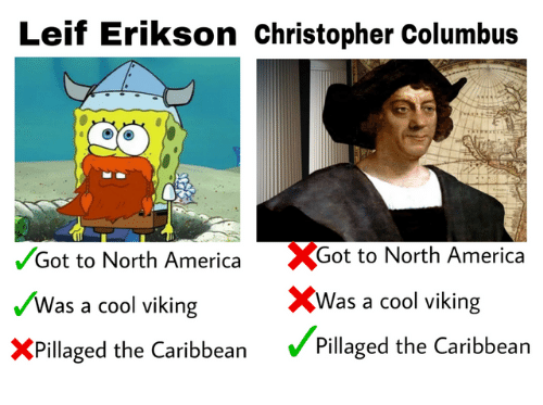 America, Cool, and Viking: Leif Erikson christopher Columbus  %Got to North America  XWas a cool viking  Pillaged the Caribbean  /Got to North America  Was a cool viking  XPillaged the Caribbean