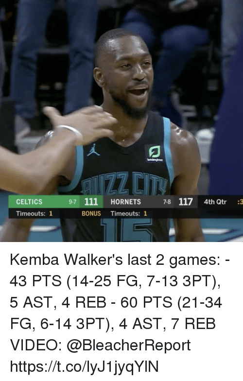 walkers: lenaingtree  CELTICS  9-7 111 HORNETS 7-8 1174th Qtr 3  Timeouts: 1  BONUS Timeouts: 1 Kemba Walker's last 2 games:   - 43 PTS (14-25 FG, 7-13 3PT), 5 AST, 4 REB - 60 PTS (21-34 FG, 6-14 3PT), 4 AST, 7 REB  VIDEO: @BleacherReport  https://t.co/lyJ1jyqYlN