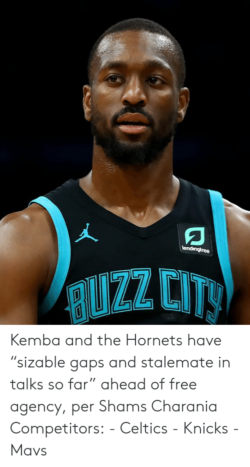 """stalemate: lendingtree  RUZZ CITY Kemba and the Hornets have """"sizable gaps and stalemate in talks so far"""" ahead of free agency, per Shams Charania  Competitors: - Celtics - Knicks - Mavs"""
