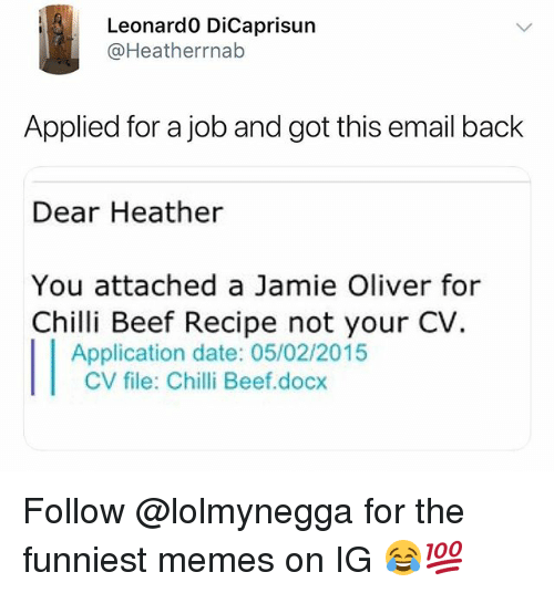 Beef, Memes, and Date: Leonard0 DiCaprisun  @Heatherrnab  Applied for a job and got this email back  Dear Heather  You attached a Jamie Oliver for  Chilli Beef Recipe not your CV.  Application date: 05/02/2015  CV file: Chilli Beef.docx Follow @lolmynegga for the funniest memes on IG 😂💯