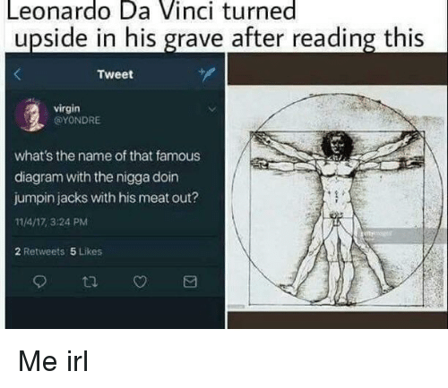 Leonardo Da Vinci, Virgin, and Diagram: Leonardo Da Vinci turned  upside in his grave after reading this  Tweet  virgin  @YONDRE  what's the name of that famous  diagram with the nigga doin  jumpin jacks with his meat out?  11/4/17, 3:24 PM  2 Retweets 5 Likes Me irl