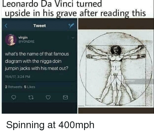 Leonardo Da Vinci, Virgin, and Diagram: Leonardo Da Vinci turned  upside in his grave after reading this  Tweet  virgin  @YONDRE  what's the name of that famous  diagram with the nigga doin  jumpin jacks with his meat out?  11/4/17,3:24 PM  2 Retweets 5 Likes Spinning at 400mph