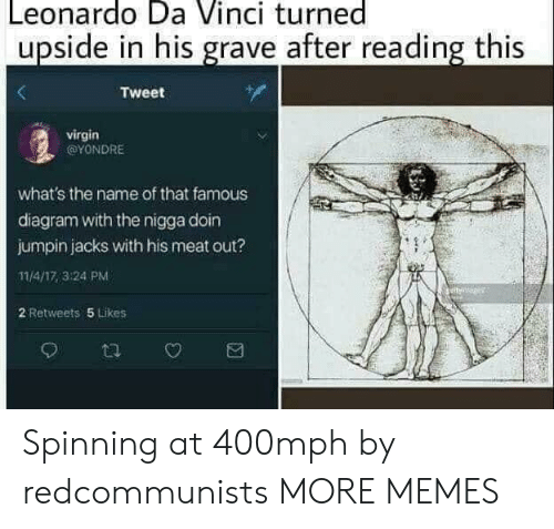 Leonardo da Vinci: Leonardo Da Vinci turned  upside in his grave after reading this  Tweet  virgin  @YONDRE  what's the name of that famous  diagram with the nigga doin  jumpin jacks with his meat out?  11/4/17,3:24 PM  2 Retweets 5 Likes Spinning at 400mph by redcommunists MORE MEMES