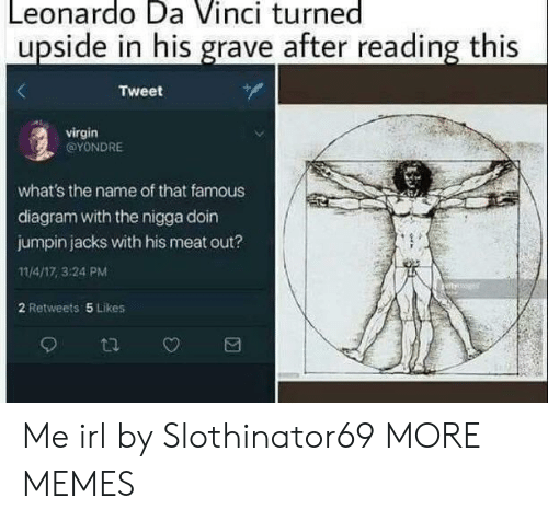 Dank, Leonardo Da Vinci, and Memes: Leonardo Da Vinci turned  upside in his grave after reading this  Tweet  virgin  @YONDRE  what's the name of that famous  diagram with the nigga doin  jumpin jacks with his meat out?  11/4/17, 3:24 PM  2 Retweets 5 Likes Me irl by Slothinator69 MORE MEMES
