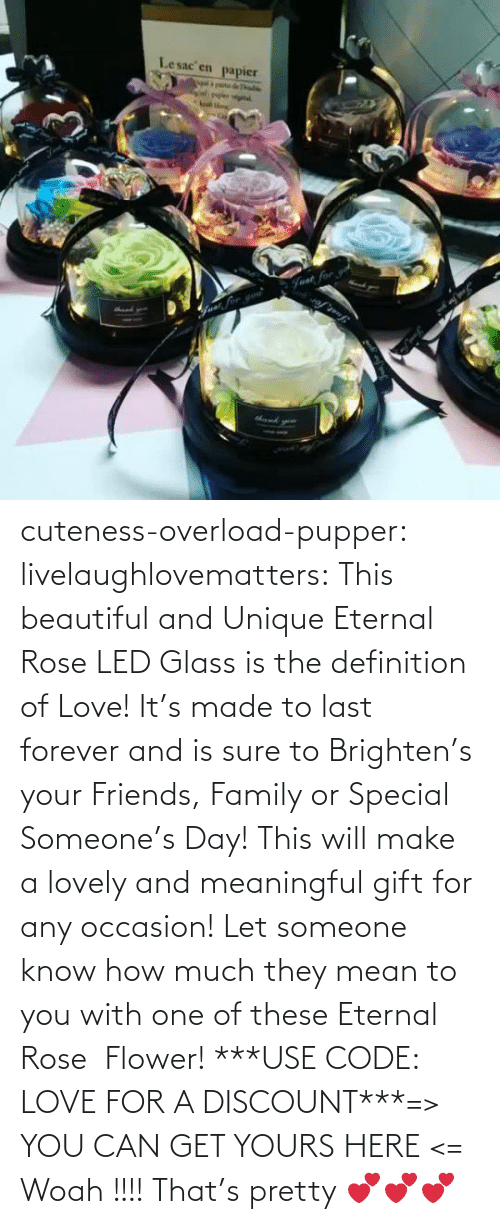 Can Get: Lesac en  papier  halke  Fvat for cuteness-overload-pupper:  livelaughlovematters:  This beautiful and Unique Eternal Rose LED Glass is the definition of Love! It's made to last forever and is sure to Brighten's your Friends, Family or Special Someone's Day! This will make a lovely and meaningful gift for any occasion! Let someone know how much they mean to you with one of these Eternal Rose  Flower! ***USE CODE: LOVE FOR A DISCOUNT***=> YOU CAN GET YOURS HERE <=  Woah !!!! That's pretty 💕💕💕