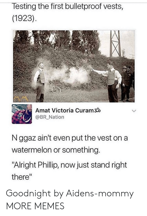 "Orli: lesting the first bulletproof vests,  (1923)  Amat Victoria Curam3o  @BR Nation  N ggaz ain't even put the vest on a  watermelon or something  ""Alright Phillip, now just stand right  there"" Goodnight by Aidens-mommy MORE MEMES"