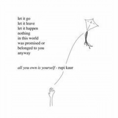 Let It Go, World, and Own: let it go  let it leave  let it happen  othing  in this world  was promised or  belonged to you  anyway  all you own is yourself-rupi kaur