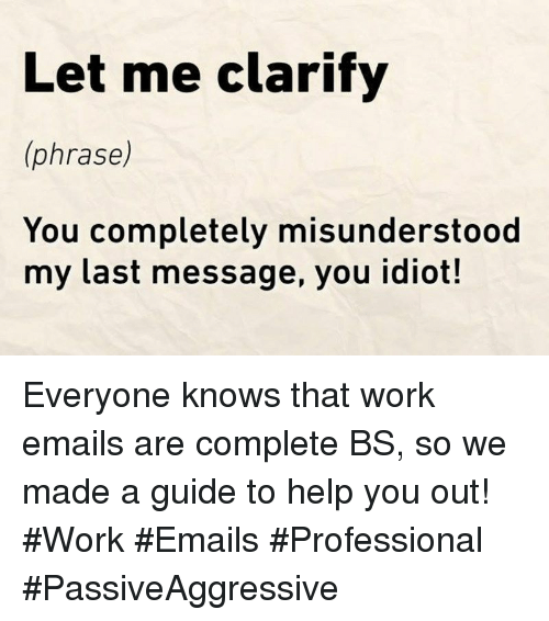 Work, Help, and Idiot: Let me clarify  (phrase)  You completely misunderstood  my last message, you idiot! Everyone knows that work emails are complete BS, so we made a guide to help you out! #Work #Emails #Professional #PassiveAggressive