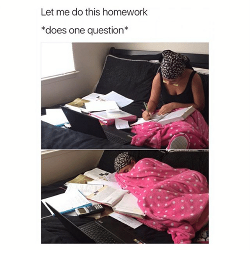 Homework, Girl Memes, and Questions: Let me do this homework  *does one question*