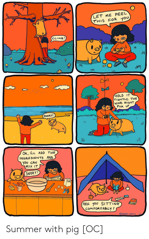 Summer, Comics, and Add: LET ME PEEL  THIS FOR you  CLIMB!  HOLD IT  TIGHTLY, THE  WIND MIGHT  PIck UP  SNORT!  Ok, ILL ADD THE  INGREDIENTS AND  You CAN  MIX IT  SNORT  RECIPE  FloOR  (ARE yoU SITTING  COMFORTABLY ?  OGREB COMICS Summer with pig [OC]