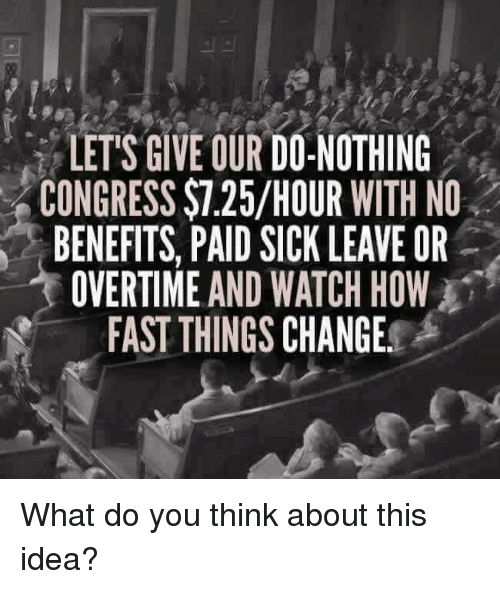Memes, Watch, and Sick: LETS GIVE OUR DO NOTHING  CONGRESS $7.25/HOUR WITH NO  BENEFITS, PAID SICK LEAVE OR  OVERTIME AND WATCH HOW  FAST THINGS CHANGE. What do you think about this idea?