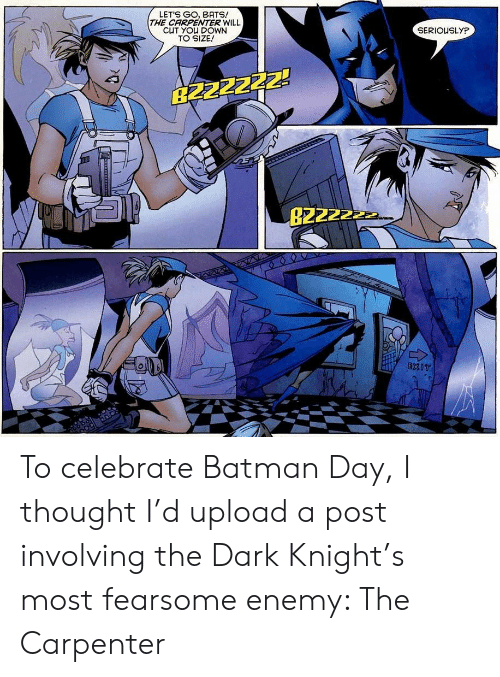 bats: LETS GO, BATS!  THE CARPENTER WILL  CUT YOU DOWN  TO SIZE!  SERIOUSLYP  B2ZZZZZ!  B2222  EXIT To celebrate Batman Day, I thought I'd upload a post involving the Dark Knight's most fearsome enemy: The Carpenter