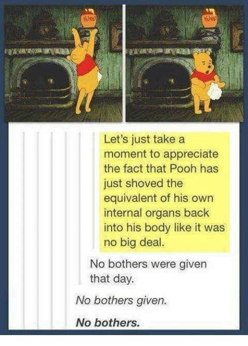 Memes, Appreciate, and Back: Let's just take a  moment to appreciate  the fact that Pooh has  just shoved the  equivalent of his own  internal organs back  into his body like it was  no big deal.  No bothers were given  that day.  No bothers given.  No bothers.