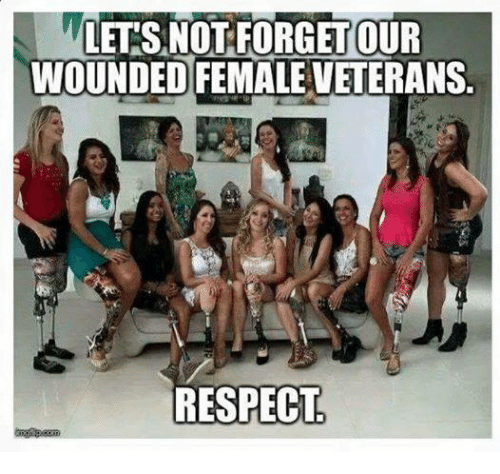 Memes, Respect, and 🤖: LETS NOT FORGET OUR  WOUNDED FEMALEVETERANS  RESPECT