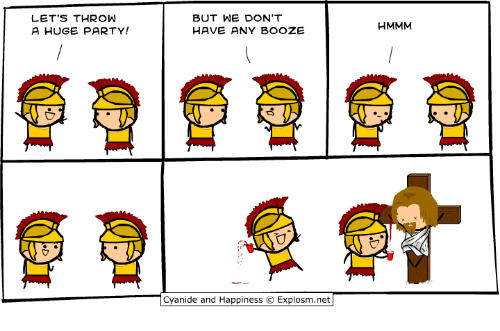 Dank, Party, and Cyanide and Happiness: LET'S THROW  A HUGE PARTY!  BUT WE DON'T  HAVE ANY BOOZE  HMMM  亡7  Cyanide and Happiness © Explosm.net
