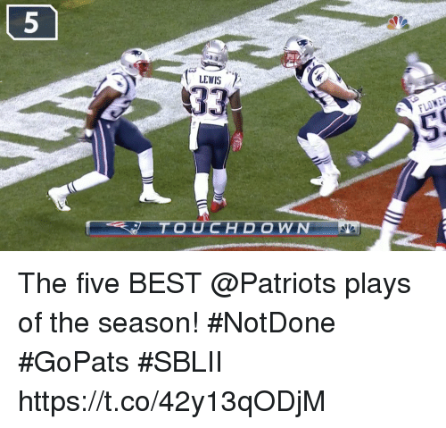 Memes, Patriotic, and Best: LEWIS  TOUCHDOWN The five BEST @Patriots plays of the season!   #NotDone #GoPats #SBLII https://t.co/42y13qODjM