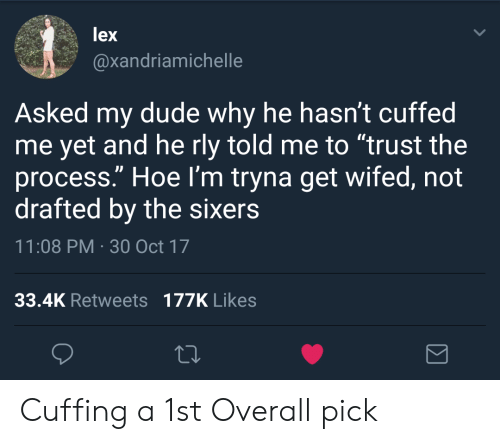 """Trust The Process: lex  @xandriamichelle  Asked my dude why he hasn't cuffed  me yet and he rly told me to """"trust the  process."""" Hoe l'm tryna get wifed, not  drafted by the sixers  11:08 PM 30 Oct 17  33.4K Retweets 177K Likes Cuffing a 1st Overall pick"""