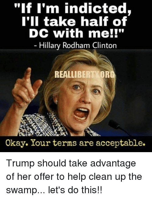 "Memes, Help, and Okay: ""lf I'm indicted,  I'II take half of  DC with me!l""  Hillary Rodham Clinton  REALLIBERTVOR  Okay. Your terms are acceptable. Trump should take advantage of her offer to help clean up the swamp... let's do this!!"