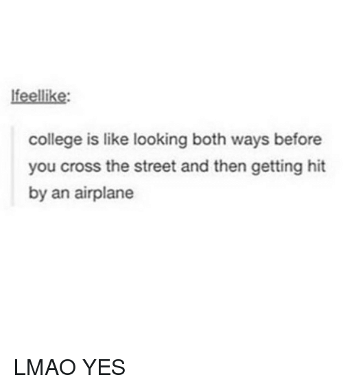 College, Lmao, and Memes: lfeellike:  college is like looking both ways before  you cross the street and then getting hit  by an airplane LMAO YES