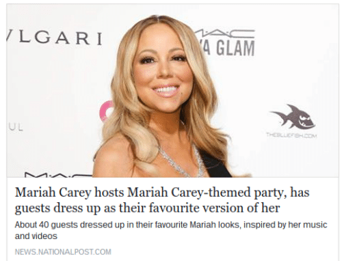 Mariah Carey, Music, and News: LGARI  4 GLAM  Mariah Carey hosts Mariah Carey-themed party, has  guests dress up as their favourite version of her  About 40 guests dressed up in their favourite Mariah looks, inspired by her music  and videos  NEWS NATIONALPOST.COM