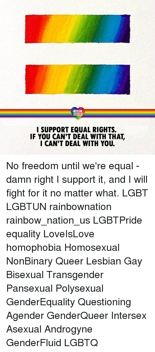 Lgbt, Memes, and Transgender: LGBT  UNITED  UNITED  I SUPPORT EQUAL RIGHTS.  IF YOU CAN'T DEAL WITH THAT,  I CAN'T DEAL WITH YOU. No freedom until we're equal - damn right I support it, and I will fight for it no matter what. LGBT LGBTUN rainbownation rainbow_nation_us LGBTPride equality LoveIsLove homophobia Homosexual NonBinary Queer Lesbian Gay Bisexual Transgender Pansexual Polysexual GenderEquality Questioning Agender GenderQueer Intersex Asexual Androgyne GenderFluid LGBTQ