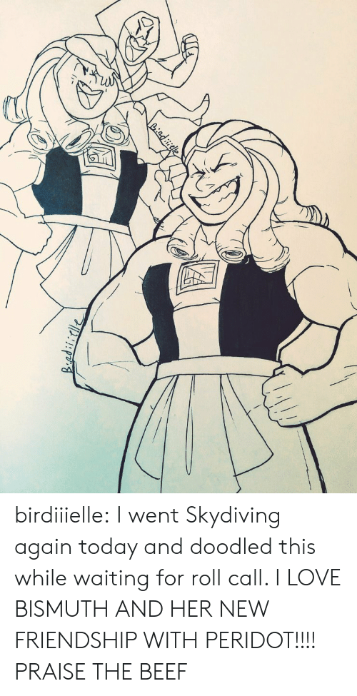 Praise: Liadiele birdiiielle:  I went Skydiving again today and doodled this while waiting for roll call. I LOVE BISMUTH AND HER NEW FRIENDSHIP WITH PERIDOT!!!!  PRAISE THE BEEF