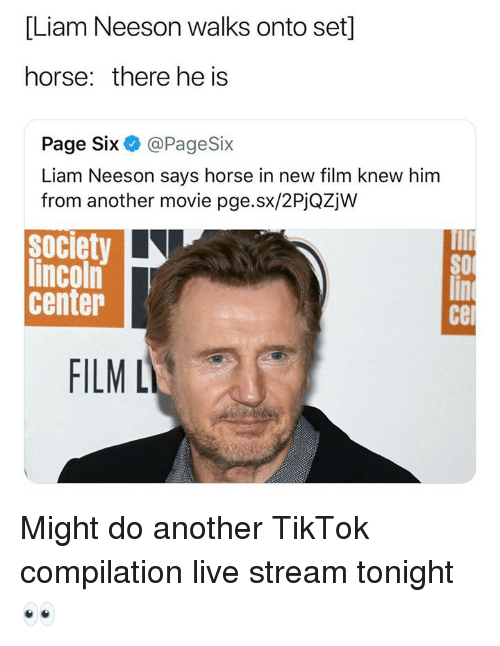 Liam Neeson, Horse, and Lincoln: [Liam Neeson walks onto set]  horse: there he is  Page Six@PageSix  Liam Neeson says horse in new film knew him  from another movie pge.sx/2PjQZjw  society  lincoln  center  cer  FILM L Might do another TikTok compilation live stream tonight 👀
