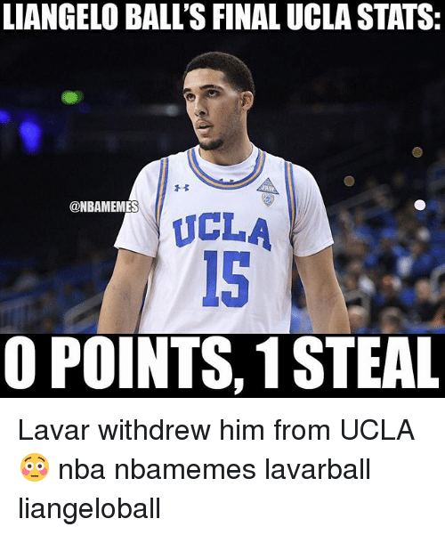 Basketball, Nba, and Sports: LIANGELO BALL'S FINAL UCLA STATS:  @NBAMENM  ES  ICLA  O POINTS, 1 STEAL Lavar withdrew him from UCLA 😳 nba nbamemes lavarball liangeloball