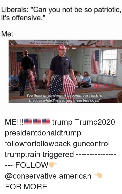 """Bad, Bad Boys, and Memes: Liberals: """"Can you not be so patriotic,  it's offensive.""""  Me:  You think anyone wants aroundhouse kick to  the face whilelm weating these bad boys? ME!!!🇺🇸🇺🇸🇺🇸 trump Trump2020 presidentdonaldtrump followforfollowback guncontrol trumptrain triggered ------------------ FOLLOW👉🏼 @conservative.american 👈🏼 FOR MORE"""