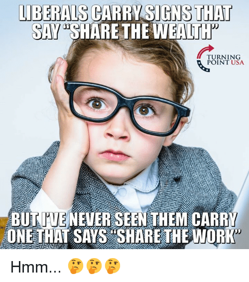 "Memes, Never, and 🤖: LIBERALS CARRY SIGNS THAT  SAY ""SHARE THE WEALTt  URNTNSA  POINT USA  BUT TUE NEVER SEEN THEM CARRY  ONETHAT SAYS SHARE THEWORK Hmm... 🤔🤔🤔"