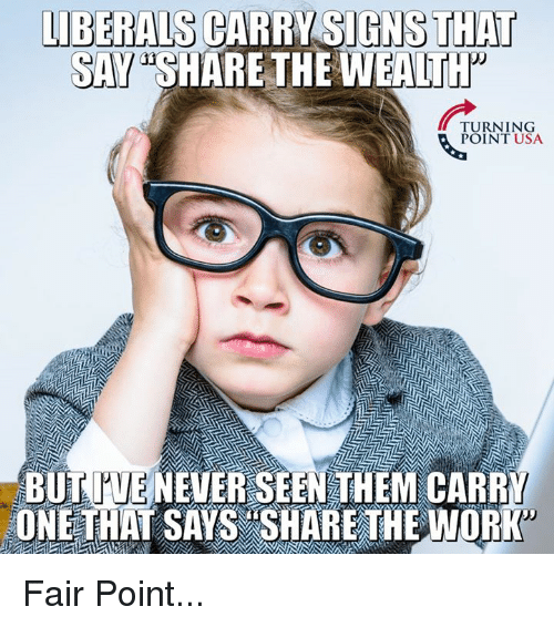 Memes, Work, and Never: LIBERALS CARRY SIGNS THAT  SAY SHARETHE WEALtTH  TURNING  POINT USA  BUTOUE NEVER SEEN THEM CARRY  ONE THAT SAYS SHARETHE WORK Fair Point...