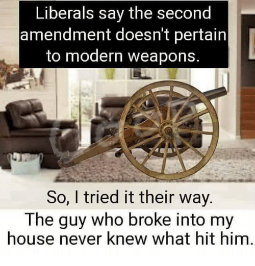Memes, My House, and House: Liberals say the second  amendment doesn't pertain  to modern weapons  So, I tried it their way  The guy who broke into my  house never knew what hit him