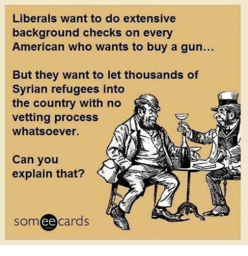 Memes, American, and 🤖: Liberals want to do extensive  background checks on every  American who wants to buy a gun...  But they want to let thousands of  Syrian refugees into  the country with no  vetting process  whatsoever.  Can you  explain that?  somee cards