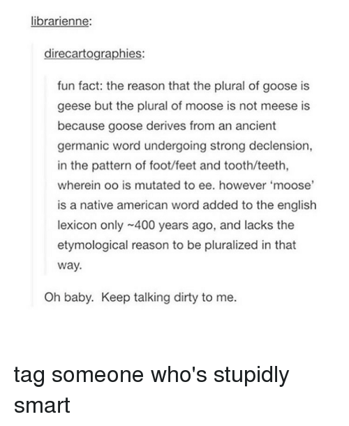 Tumblr, Dirty, and Tag Someone: librarienne:  direcartographies:  fun fact: the reason that the plural of goose is  geese but the plural of moose is not meese is  because goose derives from an ancient  germanic word undergoing strong declension,  in the pattern of foot/feet and tooth/teeth,  wherein oo is mutated to ee. however 'moose'  is a native american word added to the english  lexicon only ~400 years ago, and lacks the  etymological reason to be pluralized in that  Way.  Oh baby. Keep talking dirty to me. tag someone who's stupidly smart