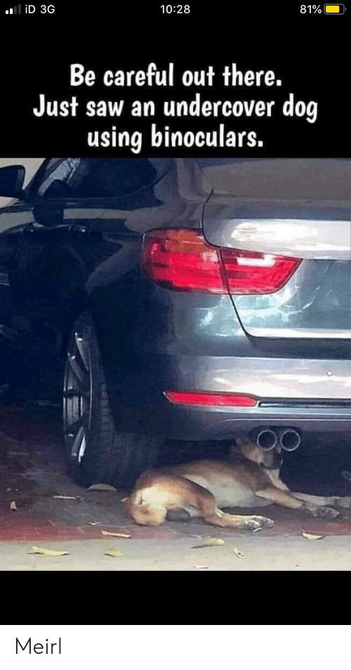 Saw, MeIRL, and Be Careful: liD 3G  10:28  81%  Be careful out there.  Just saw an undercover dog  using binoculars. Meirl