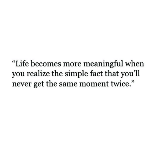 """Life, Never, and Simple: Life becomes more meaningful when  you realize the simple fact that you'll  never get the same moment twice."""""""
