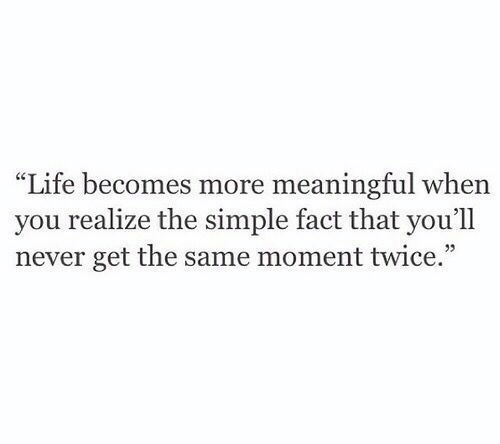 "Life, Never, and Simple: ""Life becomes more meaningful when  you realize the simple fact that you'll  never get the same moment twice."""