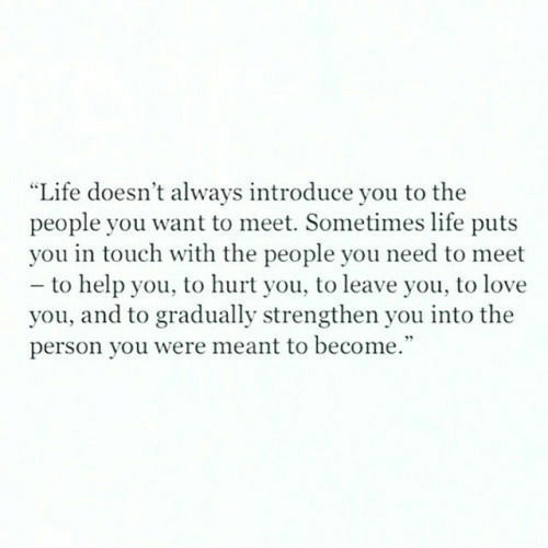 Sometimes Life: Life doesn't always introduce you to the  people you want to meet. Sometimes life puts  you in touch with the people you need to meet  - to help you, to hurt you, to leave you, to love  you, and to gradually strengthen you into the  person you were meant to become