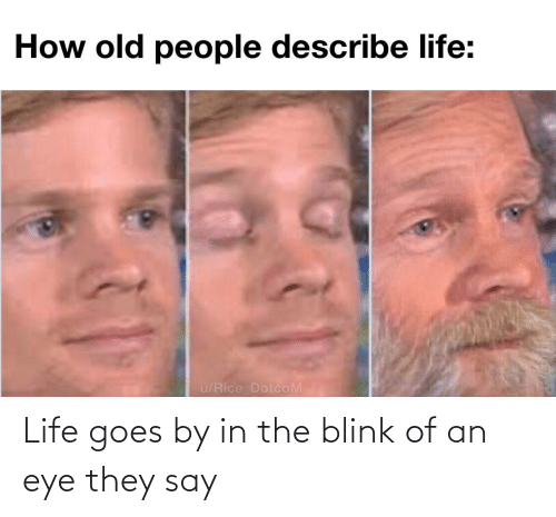 Life: Life goes by in the blink of an eye they say