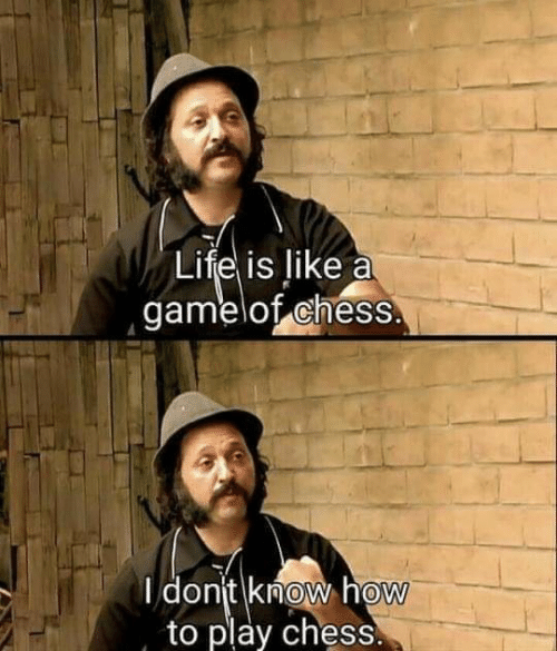 Play Chess: Life is like a  gamelof chess.  I dont know how  to play chess.  0