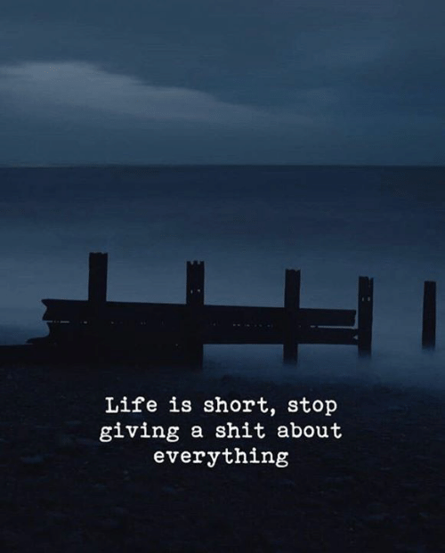 Life, Shit, and Stop: Life is short, stop  giving a shit about  everything