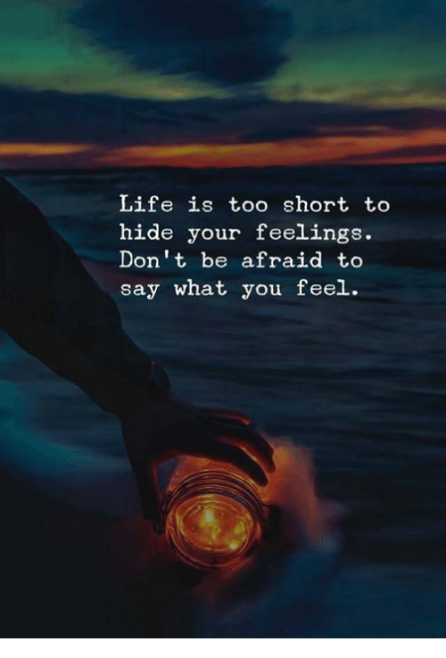 Life, Too Short, and Hide: Life is too short to  hide your feelings.  Don't be afraid to  say what you feel.