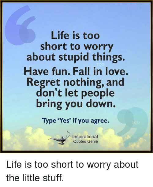 Fall, Life, and Love: Life is too  short to worry  about stupid things.  Have fun. Fall in love  Regret nothing, and  on't let people  bring you down.  Type 'Yes' if you agree.  Inspirational  Quotes Genie Life is too short to worry about the little stuff.