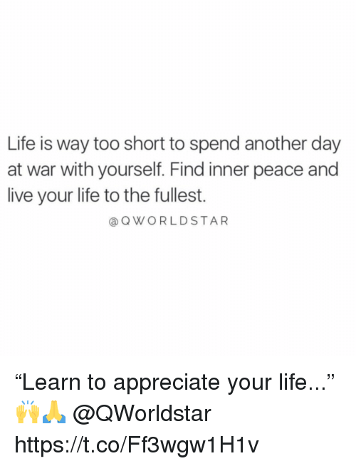 """Life, Appreciate, and Live: Life is way too short to spend another day  at war with yourself. Find inner peace and  live your life to the fullest.  @QWORLDSTAR """"Learn to appreciate your life..."""" 🙌🙏 @QWorldstar https://t.co/Ff3wgw1H1v"""
