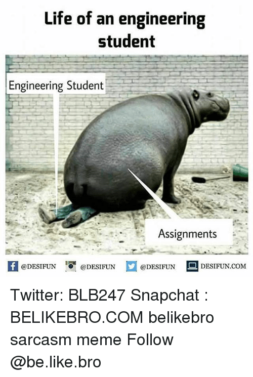 Be Like, Life, and Meme: Life of an engineering  student  Engineering Student  Assignments  fDESIFUNDESIFUNDESIFUN DESIFUN.coM  @DESIFUN ■ DESIFUN.COM Twitter: BLB247 Snapchat : BELIKEBRO.COM belikebro sarcasm meme Follow @be.like.bro