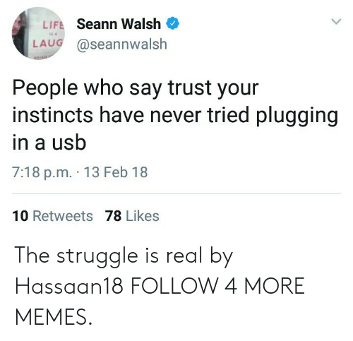 Plugging: LIFE Seann Walsh  LAUG @seannwalsh  People who say trust your  instincts have never tried plugging  in a usb  7:18 p.m. 13 Feb 18  10 Retweets 78 Likes The struggle is real by Hassaan18 FOLLOW 4 MORE MEMES.