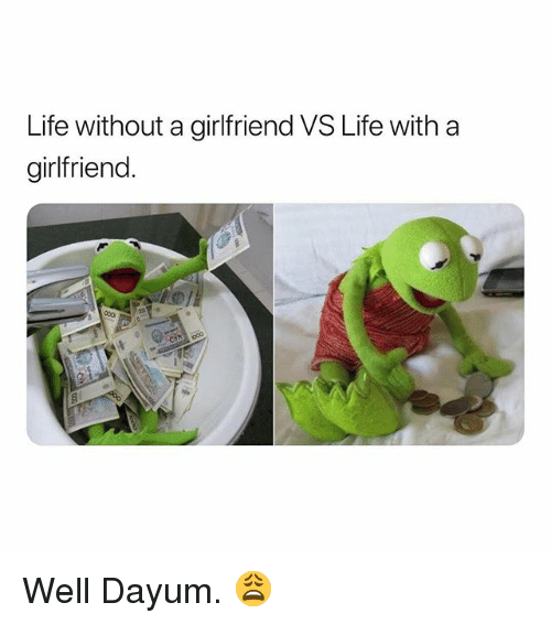 Life, Girlfriend, and Dank Memes: Life without a girlfriend VS Life with a  girlfriend. Well Dayum. 😩