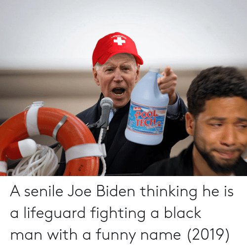Funny Name: LIFEGUAR  POOL  TECH  Shoc A senile Joe Biden thinking he is a lifeguard fighting a black man with a funny name (2019)