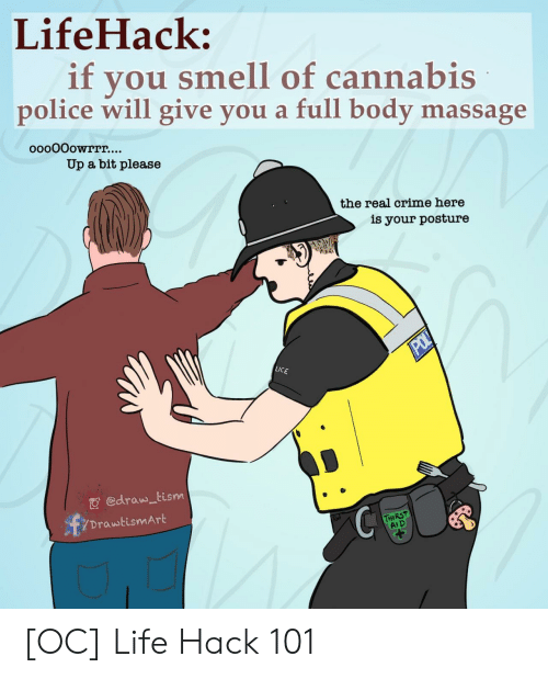 pol: LifeHack:  if  you smell of cannabis  police will give you a full body massage  ooo0Oowrrr....  Up a bit please  the real crime here  is your posture  POL  LICE  edraw tism  DrawtismArt  THIRST  AID [OC] Life Hack 101