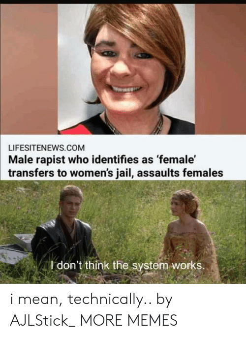 Dank, Jail, and Memes: LIFESITENEWS.COM  Male rapist who identifies as female'  transfers to women's jail, assaults females  I don't think the system works i mean, technically.. by AJLStick_ MORE MEMES